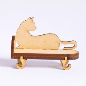 ミニチュアもふもふ猫空間 にゃんソファ(シルエット) 完成品|mamekou-boo
