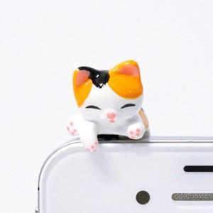 ミケ猫 乗っかりイヤホンジャック|mamekou-boo