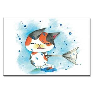 傘など意味が無い 猫ポストカード|mamekou-boo
