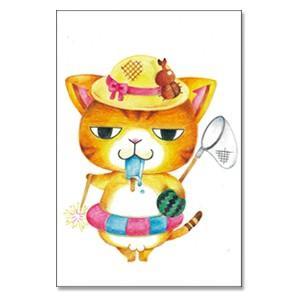 一日で夏を満喫 猫ポストカード|mamekou-boo
