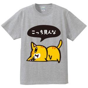 猫Tシャツ こっち見んな 男女兼用M~XL グレー|mamekou-boo