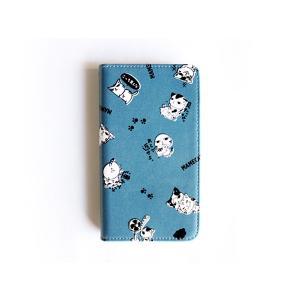 他機種対応!手帳型スマホケース まめ猫まみれ ブルー  SC-6|mamekou-boo