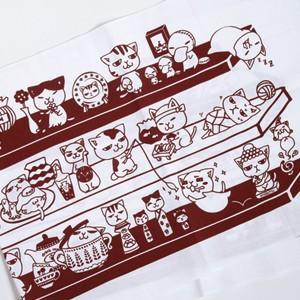 ネコ手ぬぐい「猫棚(肉球まみれで大集合)」あずき色 TN-3|mamekou-boo