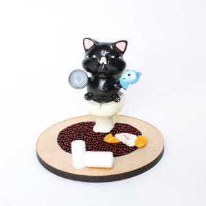天然木材使用! キュッポン猫のスマホスタンド【黒】|mamekou-boo