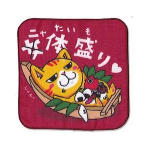 4重ガーゼ まめ猫ハンドタオル ニャたい盛り HT-4|mamekou-boo
