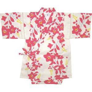 【子供 甚平】桔梗(ききょう)柄 こども甚平スーツ(日本製)90cm〜110cm(アイボリー)女児/女の子/こども/CHILD/和装/じんべい/|mammam