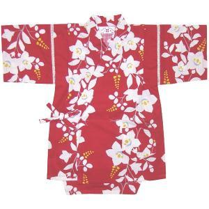 【子供 甚平】桔梗(ききょう)柄 こども甚平スーツ(日本製)120cm〜130cm(赤)女児/女の子/こども/CHILD/和装/じんべい/|mammam