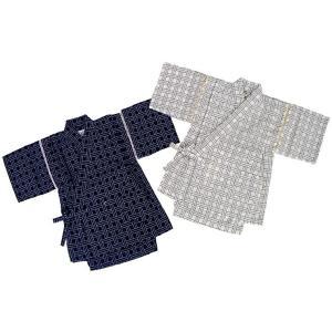子供 甚平 カゴメ格子刺子風しじら織 甚平スーツ 80cm〜110cm こども じんべい 日本製 05P06Aug16|mammam