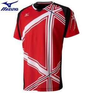 a03611616b313 ミズノ MIZUNO ドライサイエンスゲームシャツ(ラケットスポーツ)[ユニセックス](62)レッド×ブラック 72MA700462