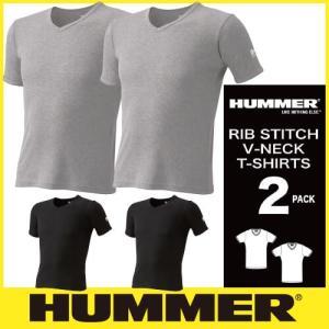 Tシャツ 半袖 HUMMER ハマー V首半袖リブTシャツ 2枚組 9043-15 半袖Tシャツ|mamoru-k