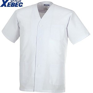 ジーベック XEBEC 25101 半袖上衣(襟無し) 白 通年 秋冬用 メンズ 男性用 作業服 作業着 調理服 厨房白衣 ユニフォーム|mamoru-k
