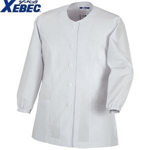 ジーベック XEBEC 25105 レディース長袖上衣(襟無し) 白 通年 秋冬用 女性用 婦人用 作業服 作業着 調理服 厨房白衣 ユニフォーム|mamoru-k