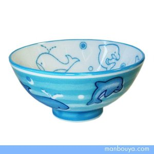 イルカ クジラ 子供用 ご飯茶碗 美濃焼 陶器製 食器 水族館グッズ かわいい お茶碗 ブルー 日本製|manbouya
