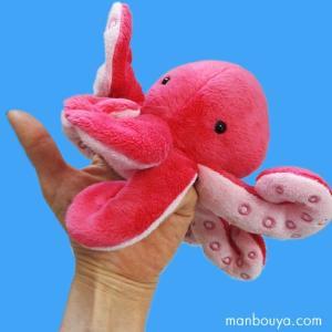 タコのぬいぐるみ ハンドパペット 指 人形 海 動物 水族館グッズ AQUA 歩け軟体くん 蛸 高さ10cm|manbouya