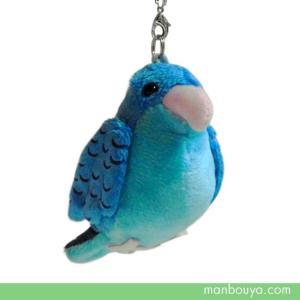 小鳥 雑貨 ぬいぐるみ グッズ A-SHOW(栄商) 鳴き笛入り 携帯ストラップ サザナミインコ 10cm|manbouya