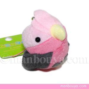 ピンクの羽が綺麗な桃色インコ(小鳥)のぬいぐるみ携帯ストラップ。 インコという名前ですが、冠羽がある...