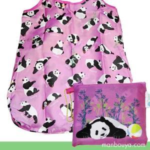 パンダがデザインされた、お洒落なお買い物バッグ。 ピンクパープルベースにころころとしたパンダがいっぱ...