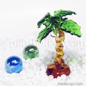 ヤシの木 ミニチュア ガラス細工 海 置物 フォーカート 椰子の木 大|manbouya