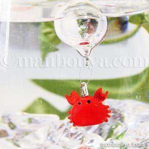 カニ グッズ ミニチュア ガラス細工 浮き玉 フロート フォーカート 浮き球 蟹|manbouya