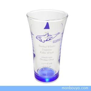シャチグッズ グラス/ガラス製コップ サンセラ工芸 マリンサイエン オルカひとくちビールグラス|manbouya
