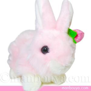 オーロラワールド うさぎのぬいぐるみ オーロラ社ラビットファミリー ウサギS這い ピンク16cm 【お取り寄せ品】|manbouya