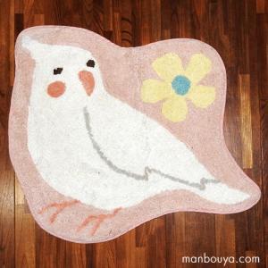 小鳥 グッズ インテリア 雑貨 かわいい フロアマット 玄関 キッチン 洗える 室内用 インコ ピンク 53×61cm|manbouya