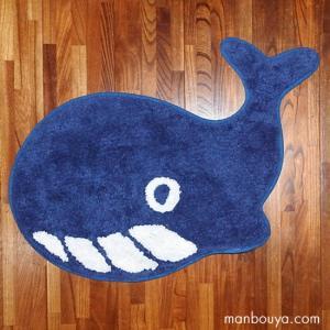 クジラ グッズ インテリア 雑貨 かわいい フロアマット 玄関 キッチン 洗える 室内用 くじら ネイビーブルー 37×60cm|manbouya
