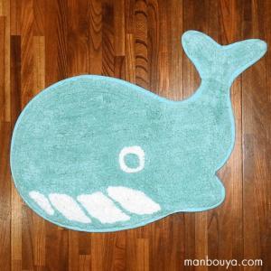 クジラ グッズ インテリア 雑貨 かわいい フロアマット 玄関 キッチン 洗える 室内用 くじら ライトブルー 37×60cm|manbouya