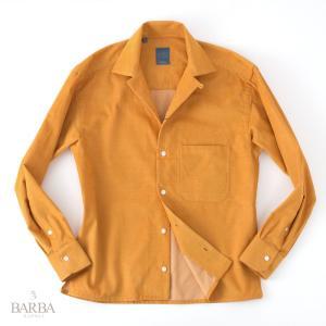 【 SALE 30 】BARBA / DANDY LIFE 【バルバ ダンディーライフ】 ビッグシルエット オープンカラーシャツ  ・art. PBOVU07581U ・col. マスタードイエロー|mandm-website