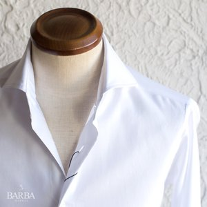 BARBA / DANDY LIFE 【バルバ ダンディーライフ】 コットン ホワイトシャツ ・mod. NEW BRUNO ・art. LIU736660201U ・col. ホワイト|mandm-website