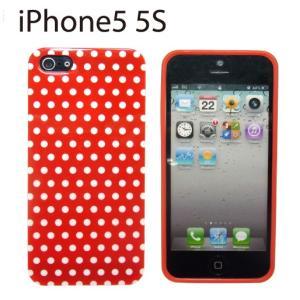 iPhone SE / 5 / 5S ケース TPU製 レッド/ホワイトドット R-6665|manekiya