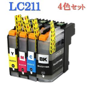 Brother ブラザー LC211 LC211-4PK 4色セット 中身 ( LC211BK LC211C LC211M LC211Y ) 互換インク brother 最新バージョンICチップ付|manetshop