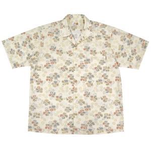 かりゆしウェア(沖縄アロハシャツ)メンズ MANGO 古典ハイビ オープン アイボリー