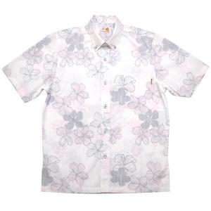 かりゆしウェア(沖縄アロハシャツ)メンズ MANGO ストライプハイビ ボタンダウン ビジネスフィット ピンク mangoplus