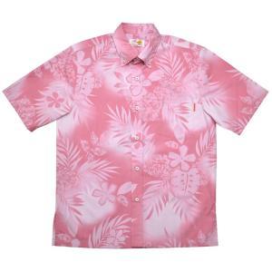 かりゆしウェア(沖縄アロハシャツ)メンズ MANGO シダプルメリア ボタンダウン ビジネスフィット ピンク mangoplus