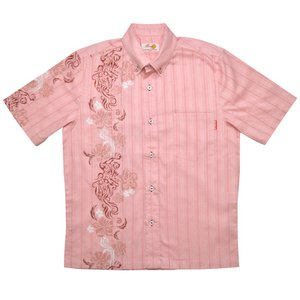 かりゆしウェア(沖縄アロハシャツ)メンズ MANGO シーサートライバル ボタンダウン ビジネスフィット ピンク mangoplus