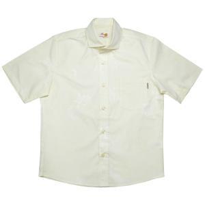 かりゆしウェア(沖縄アロハシャツ)メンズ MANGO 先染めアダン ワイド ビジネスフィット アイボリー mangoplus