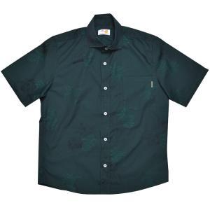 かりゆしウェア(沖縄アロハシャツ)メンズ MANGO 先染めアダン ワイド ビジネスフィット グリーン mangoplus