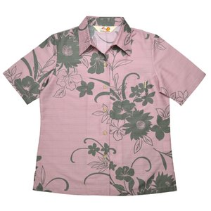 かりゆしウェア(沖縄アロハシャツ)レディース MANGO シルエットフラワー スキッパー  ピンク mangoplus