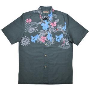 かりゆしウェア(沖縄アロハシャツ)メンズ KUINA リリーペイズリーショール ボタンダウン ビジネスフィット グレー mangoplus