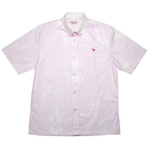 かりゆしウェア(沖縄アロハシャツ)メンズ KUINA KASURI ボタンダウン ビジネスフィット ピンク mangoplus