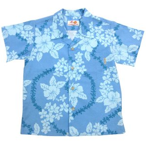 かりゆしウェア(沖縄アロハシャツ)キッズ MANGO レイ柄 ブルー|mangoplus