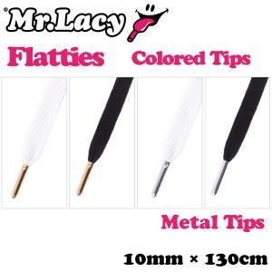 靴ひも シューレース スニーカー用 Mr.Lacy ミスターレーシー Flatties Colored Tips(Metal Tips) フラッティーズカラードティップス 約130cm 平ひも|maniac