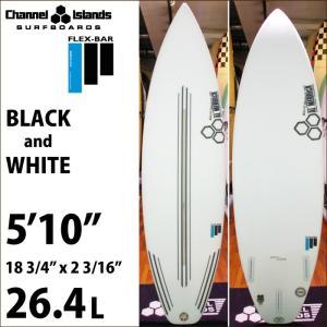 """ショートボード CHANNEL ISLANDS チャンネルアイランズサーフボード FLEX-BAR フレックスバー BLACK AND WHITE 5'10"""" ブラックアンドホワイト maniac"""