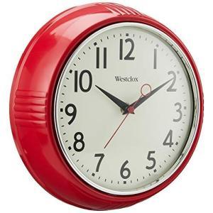 壁掛け時計 インテリア インテリア 32042R Westclox Retro 1950 Kitchen Wall Clock, 9.5-Inch, Red maniacs-shop