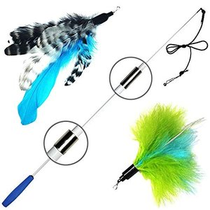 猫おもちゃ ネコ ねこ 9897969 Pet Fit For Life Retractable Wand with 2 Feathers For Your Cat and Kitte|maniacs-shop