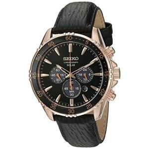腕時計 セイコー メンズ SSC448 Seiko Men's 'Chronograph' Quartz Gold and Black Leather Dress Watch (M|maniacs-shop