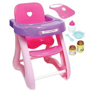 JCトイズ JC Toys 人形用ハイチェア 6個の付属品 16インチまでの人形にぴったり ピンクのシートと紫色のテーブルが付属|maniacs-shop