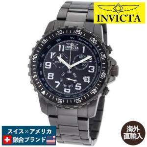 腕時計 インヴィクタ インビクタ 1328 Invicta Men's 1328 Chronograph Black Dial Two-Tone Stainless|maniacs-shop