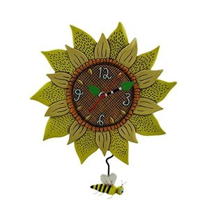 壁掛け時計 振り子時計 インテリア P1712 Allen Designs Bee Sunny Sunflower Wall Clock with Bee Pe|maniacs-shop